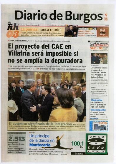 Diario de Burgos nos dedica su portada