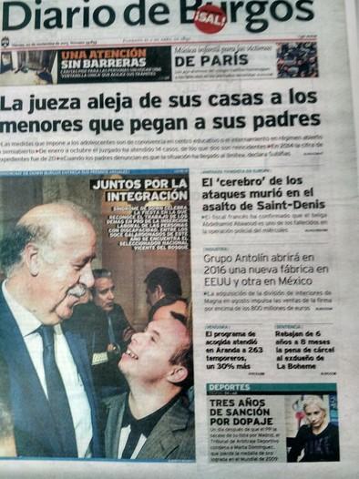 Portada diario de Burgos Vicente .Del Bosque